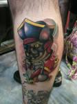 Neo-Traditional Pirate Cat Tattoo