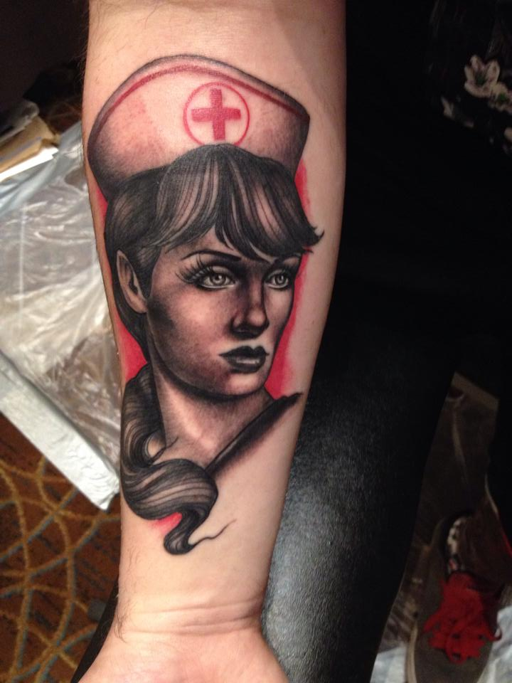 Neo-Traditional Nurse Tattoo by Nelby2388
