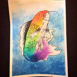 The Rainbow Koi by The-Living-Sketch