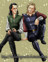 Thor y Loki side by side color0 by lokilaufeyson69