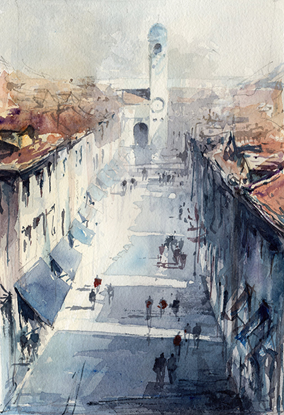 Dubrovnik watercolor by Tony belobrajdic by artiscon
