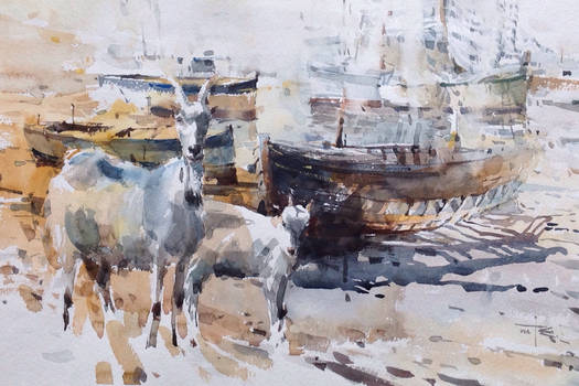 Summer Shower with Goats,watercolour