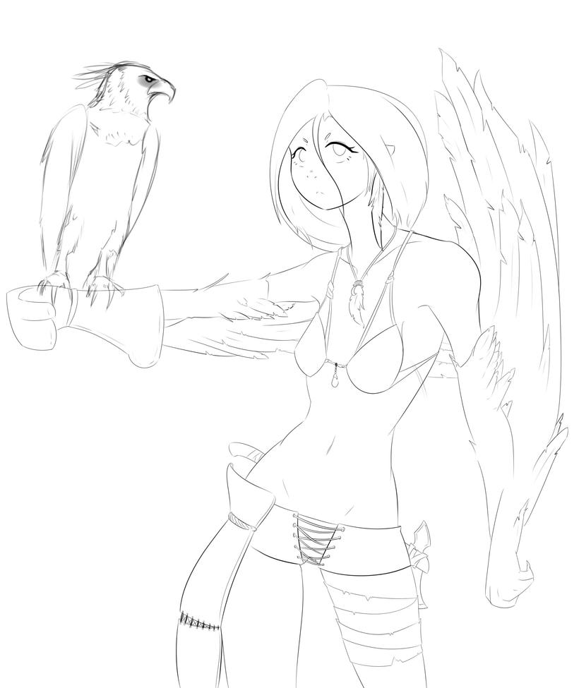Harpy lineart by Clavaa