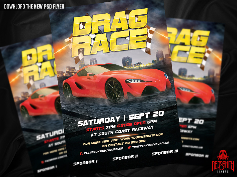 drag race flyer psd template by iamredsanity