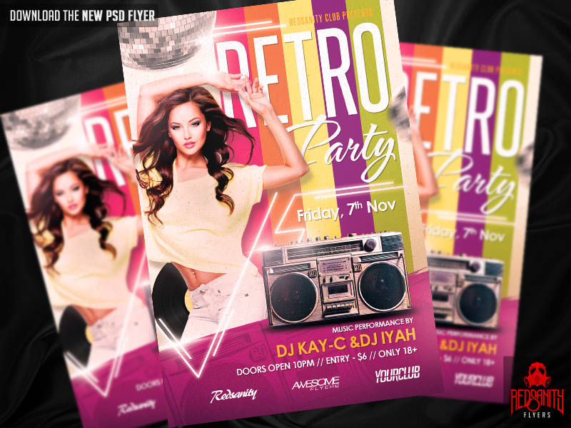 Retro Party Flyer Psd Template By Iamredsanity On Deviantart