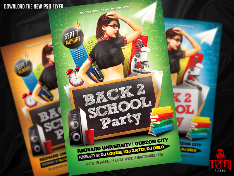 Back To School Party Flyer Template By Iamredsanity On Deviantart