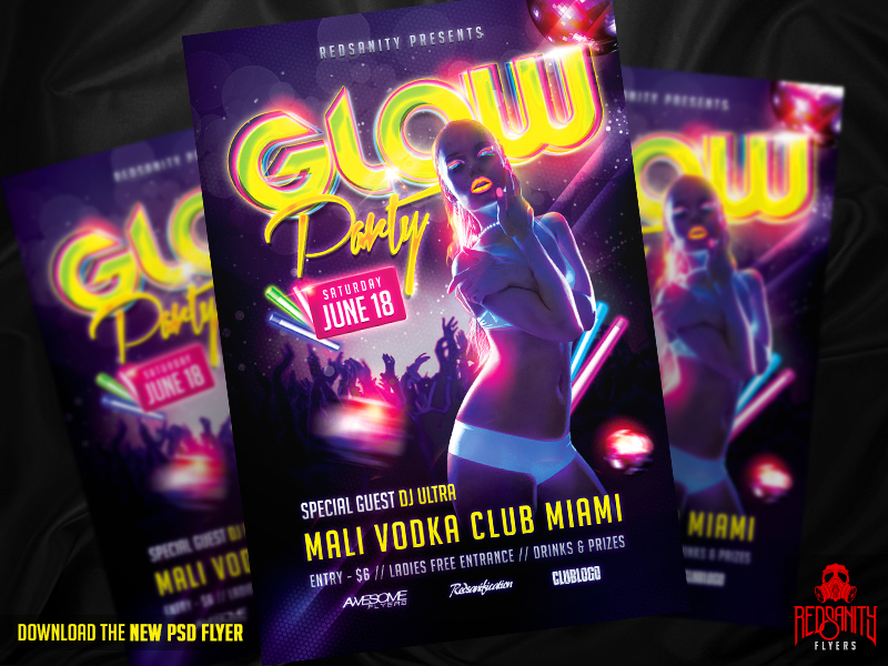 Glow Party Flyer PSD Template by iamredsanity on DeviantArt