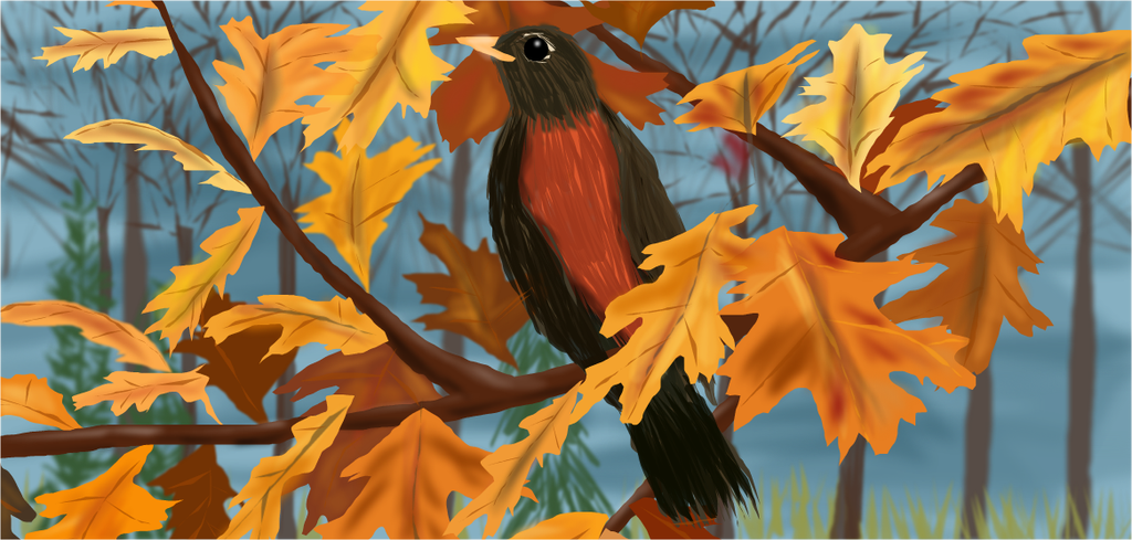 Robin in the Fall by shellfish101