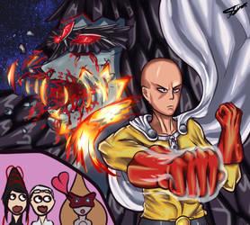 Saitama vs Sheba Bayonetta x OnePunchMan Crossover by RINKAMEARII