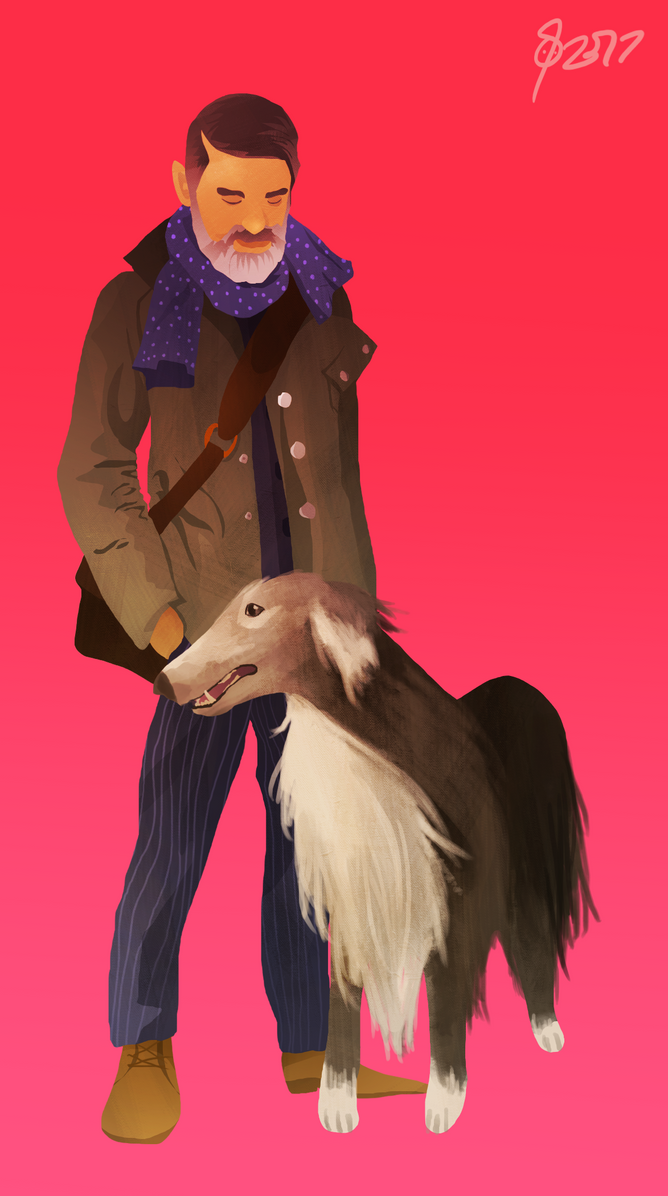 A Man and his Borzoi Hound by SunflowerDaemon