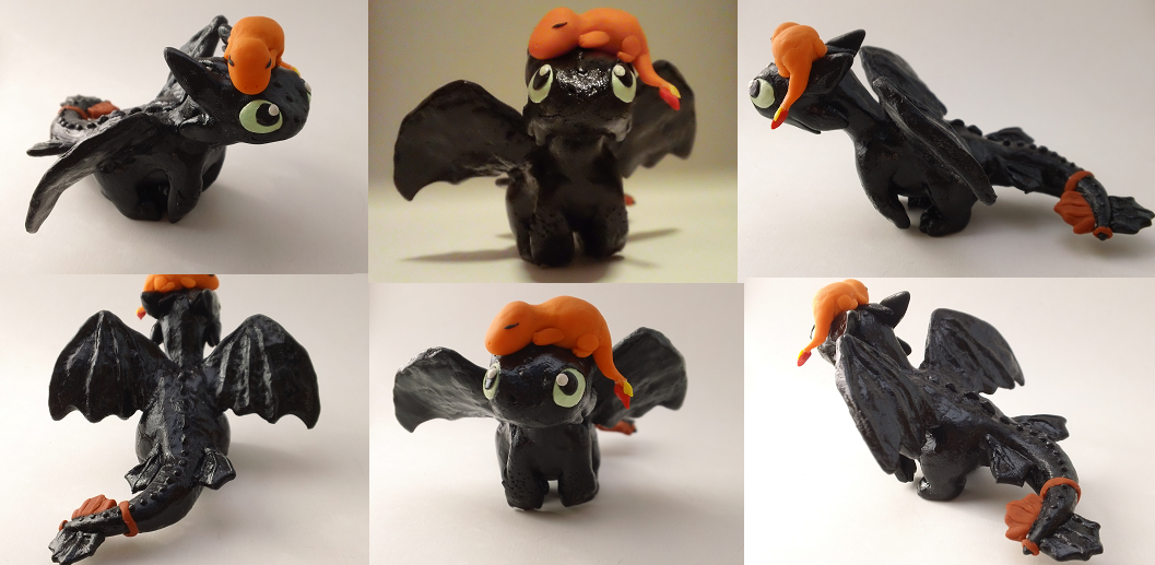Toothless and Sleeping Charmander Sculpture by CharredPinappleTart