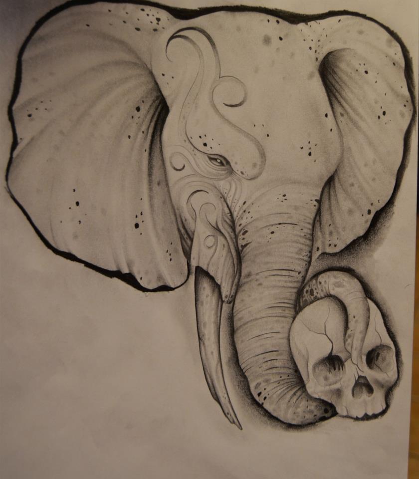 Simple elephant head tattoo - photo#12