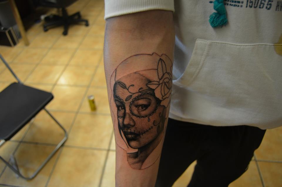 sugar skull girl tattoo by johan887766 on deviantart. Black Bedroom Furniture Sets. Home Design Ideas