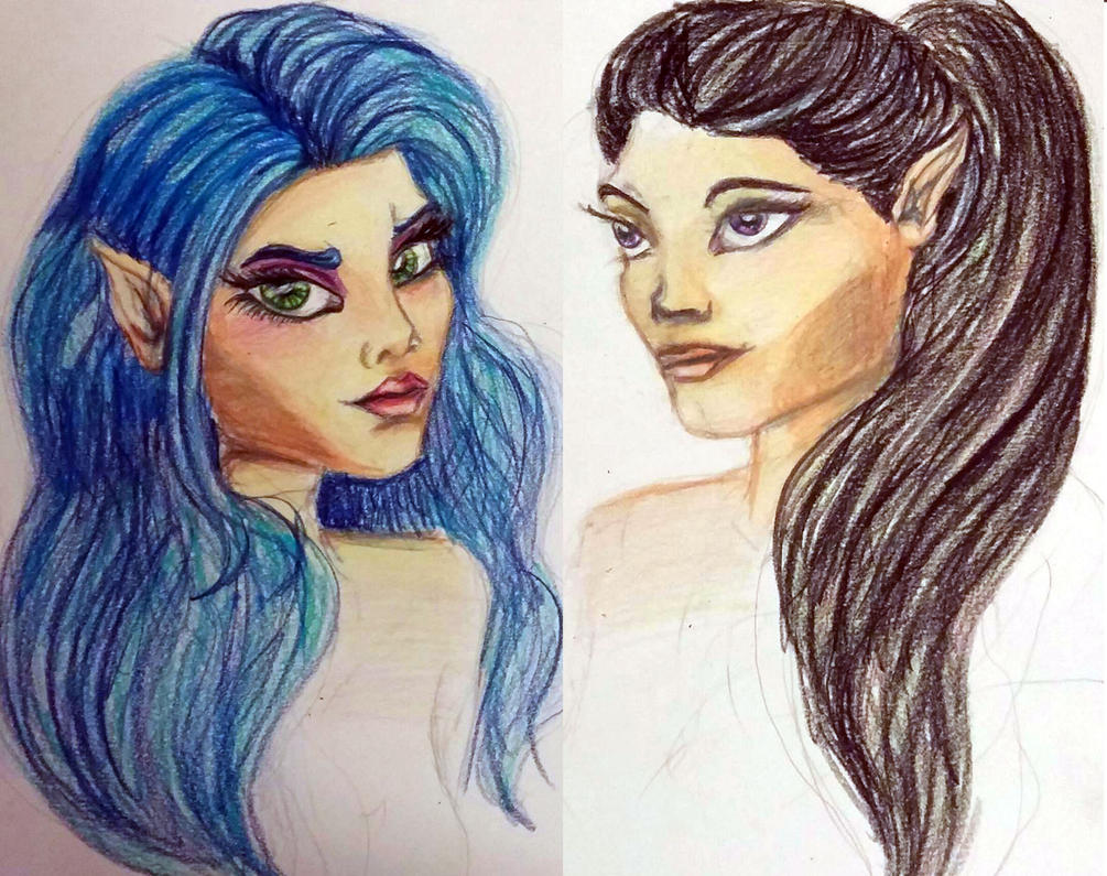 Elf Sisters by Green-Eyed-Leopardes