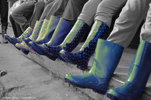 Row of the boots