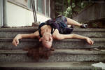 Unconscious on the stairs