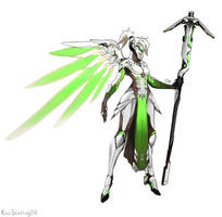 Overwatch - Mercy - Genji Skin Fan Concept by KiwiStarling