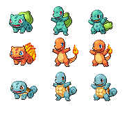 Gen1 Starter Sprites by threepersonsecret