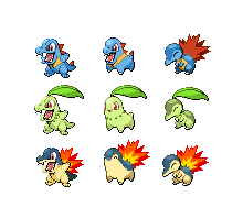 Gen2 Starter Sprites by threepersonsecret