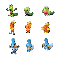 Gen3 Pokemon Starters by threepersonsecret