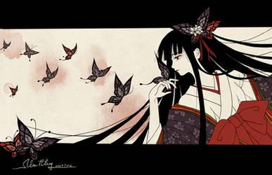 Kikyou and butterflies