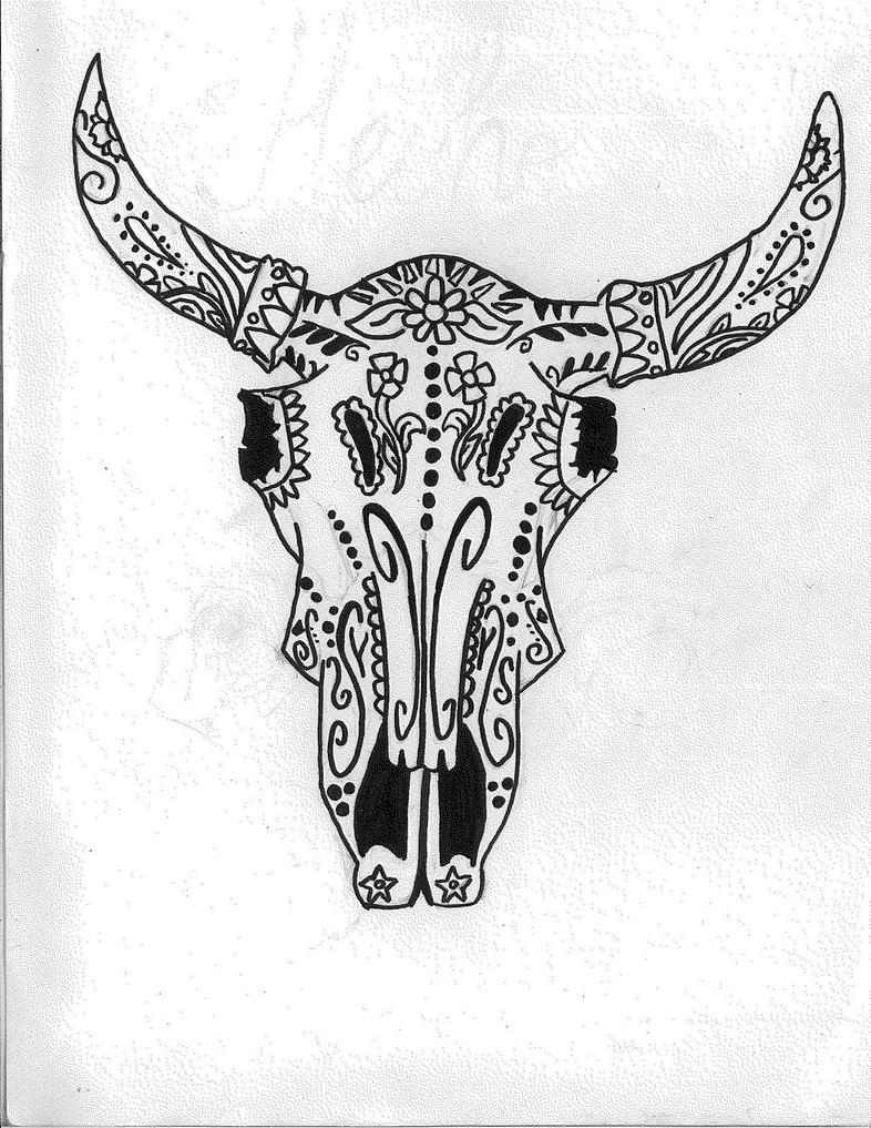 Cow Skull - Dia De Los Muertos by LemonSwank