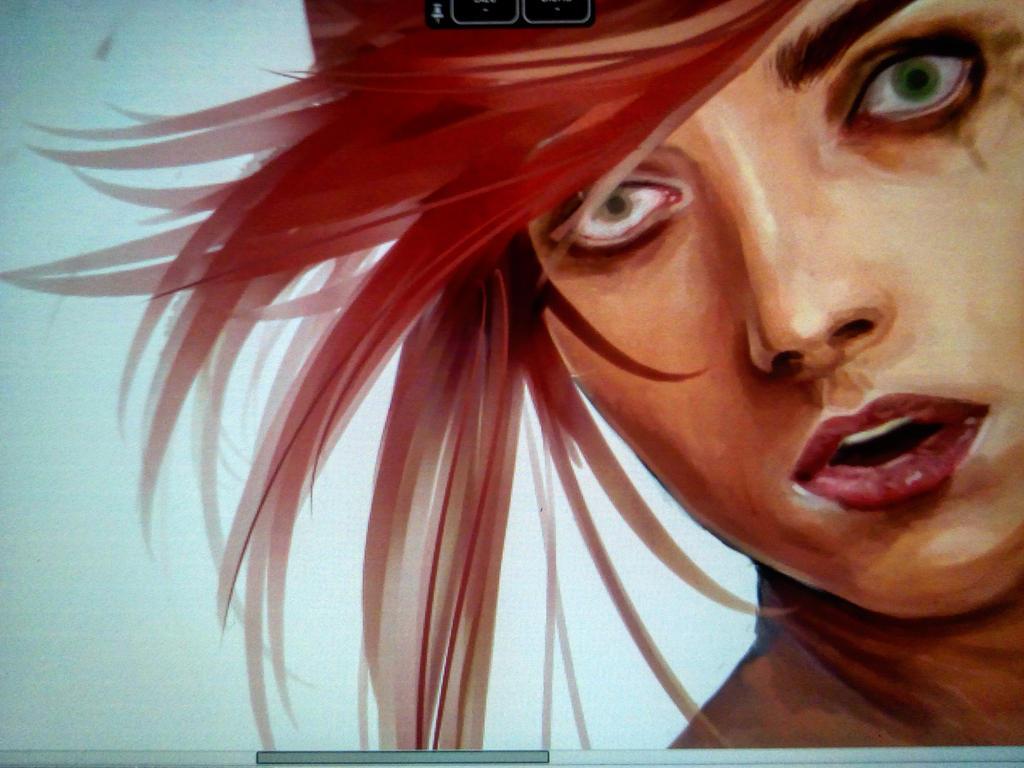 Mishka painting in progress by Kurotik