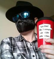 black mask and mug