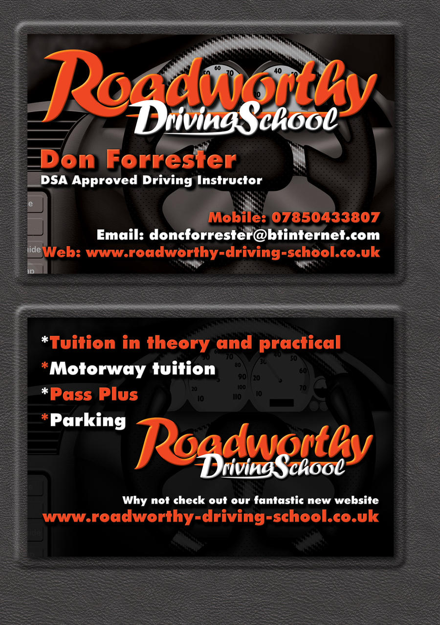 Roadworthy Driving School Business Card by Genesis2Revolution on ...