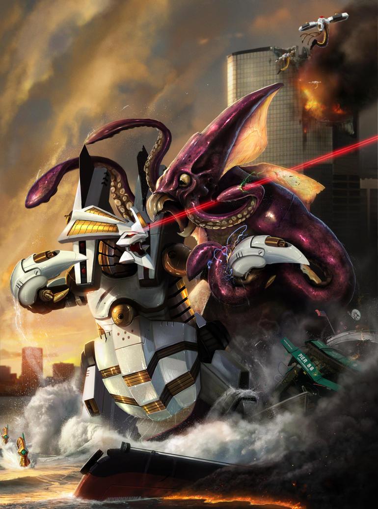 Dino Robot vs Kraken - by DanLuVisiArt