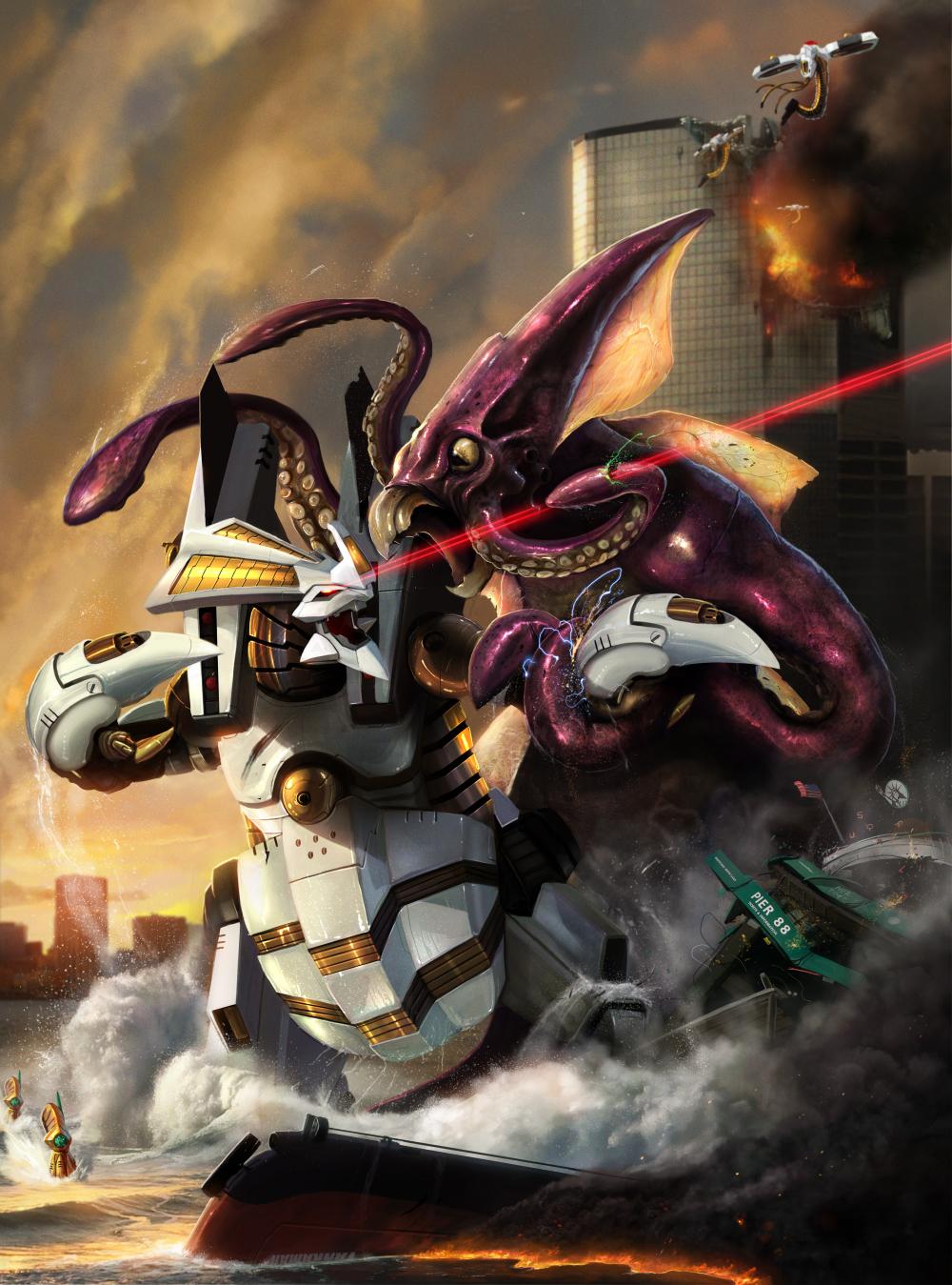 Dino Robot vs Kraken -