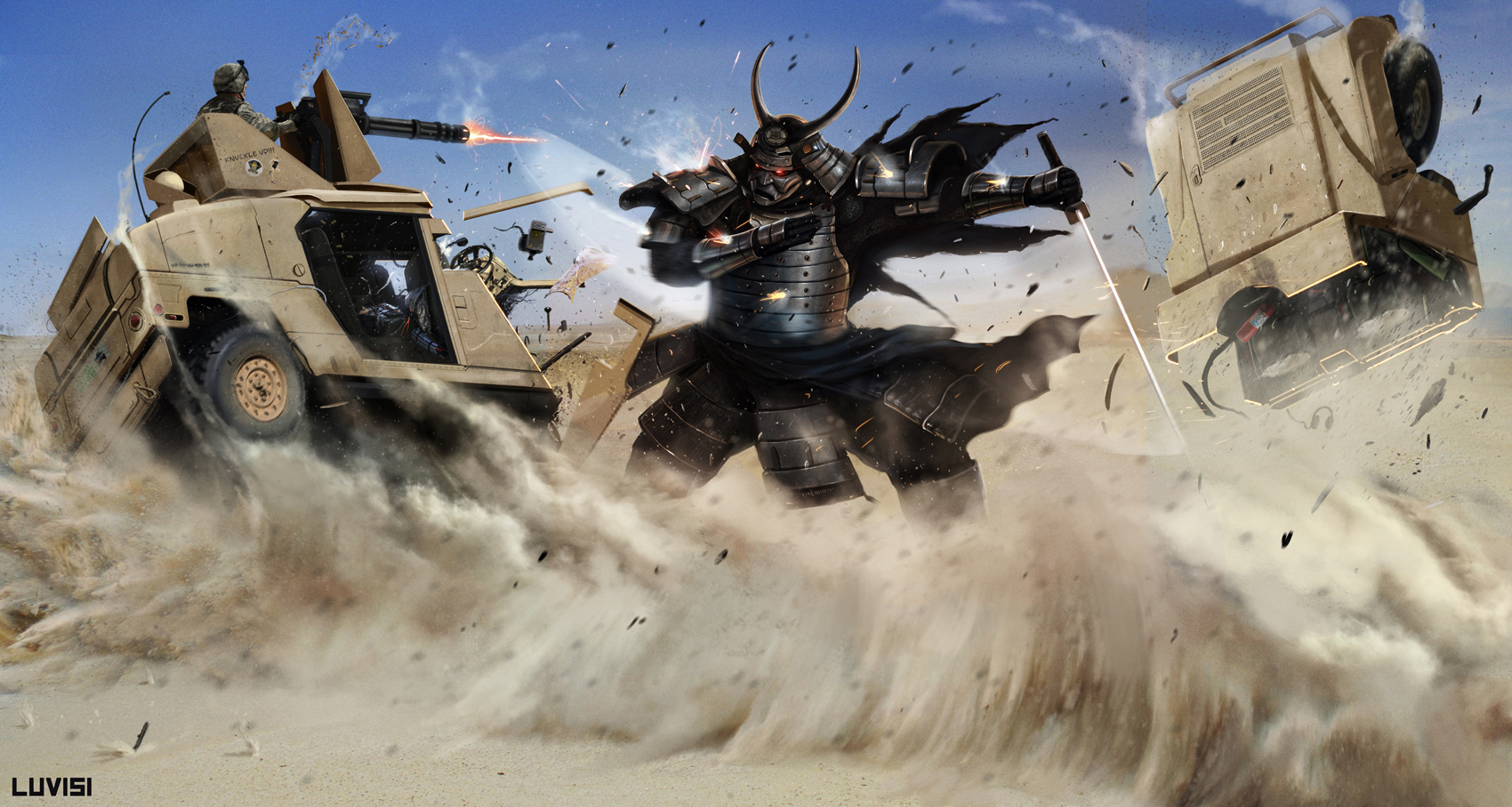 SP - SAMURAI VS A HUMVEE - by DanLuVisiArt