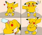 Feeding the baby Pikachu 1