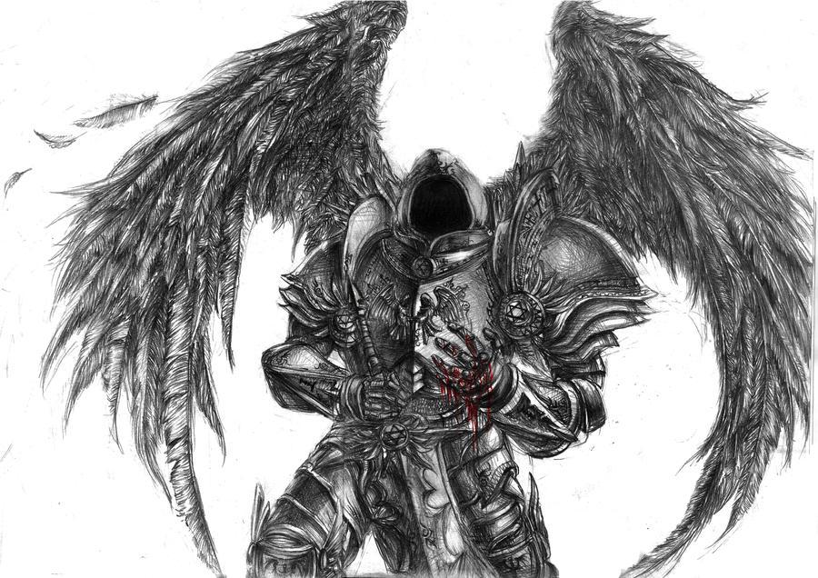 Tyrael-fallen angel by DeVmarine