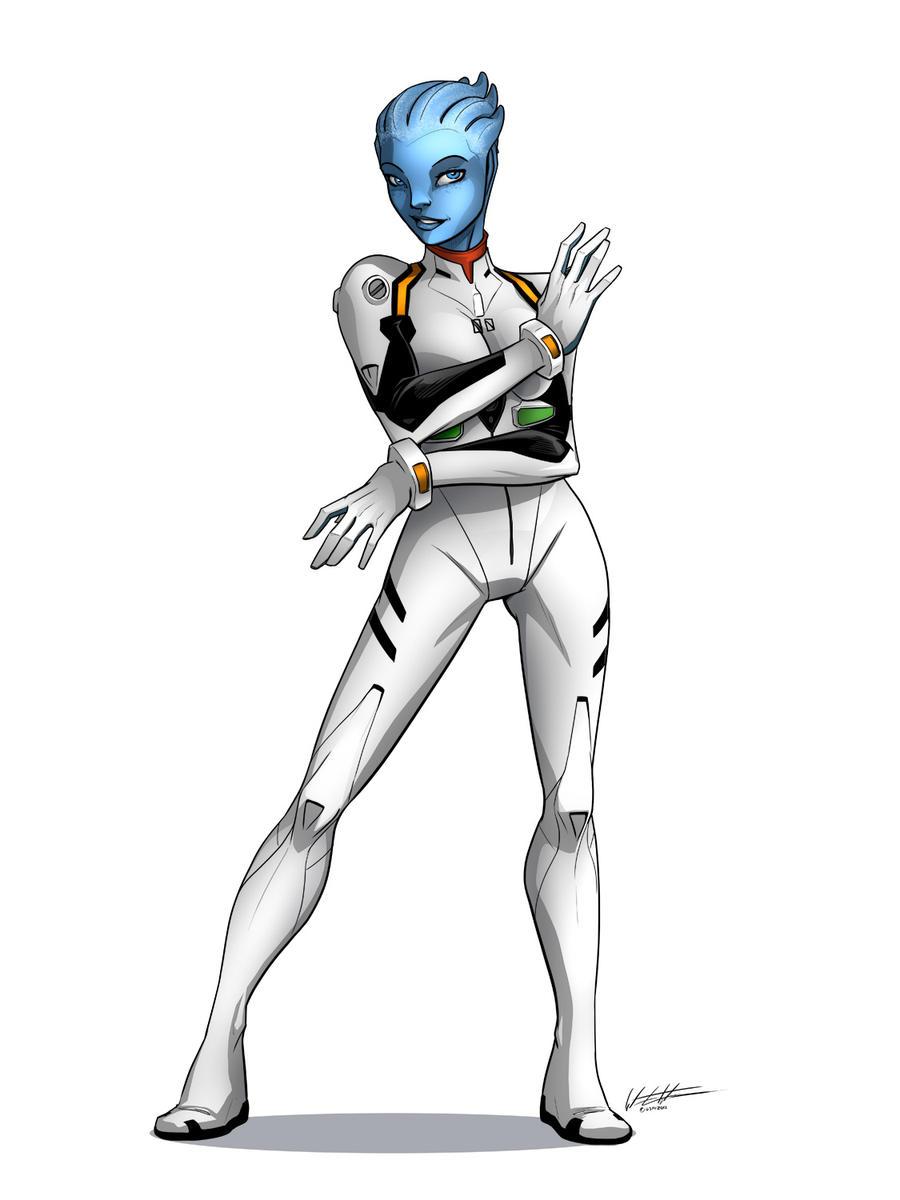 Liara Plug Suit Commision by KravenErgeist