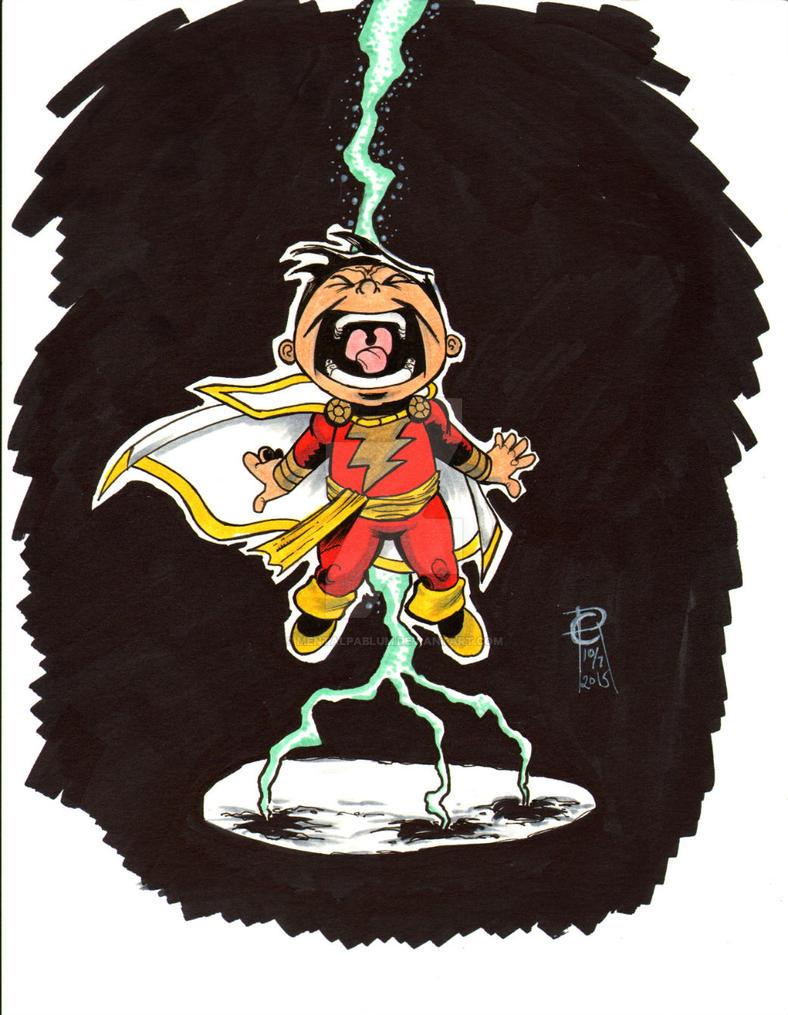#Inktober Day 07 Lil' Shazam by MentalPablum