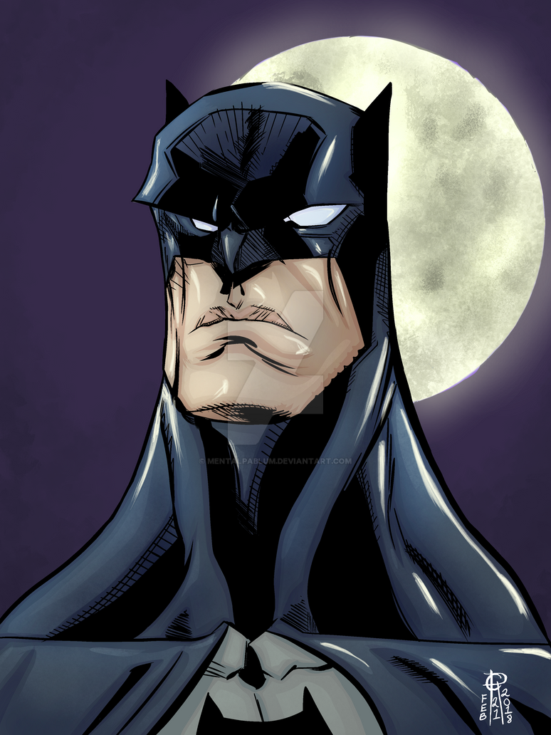 Batman Headshot Color Version by MentalPablum
