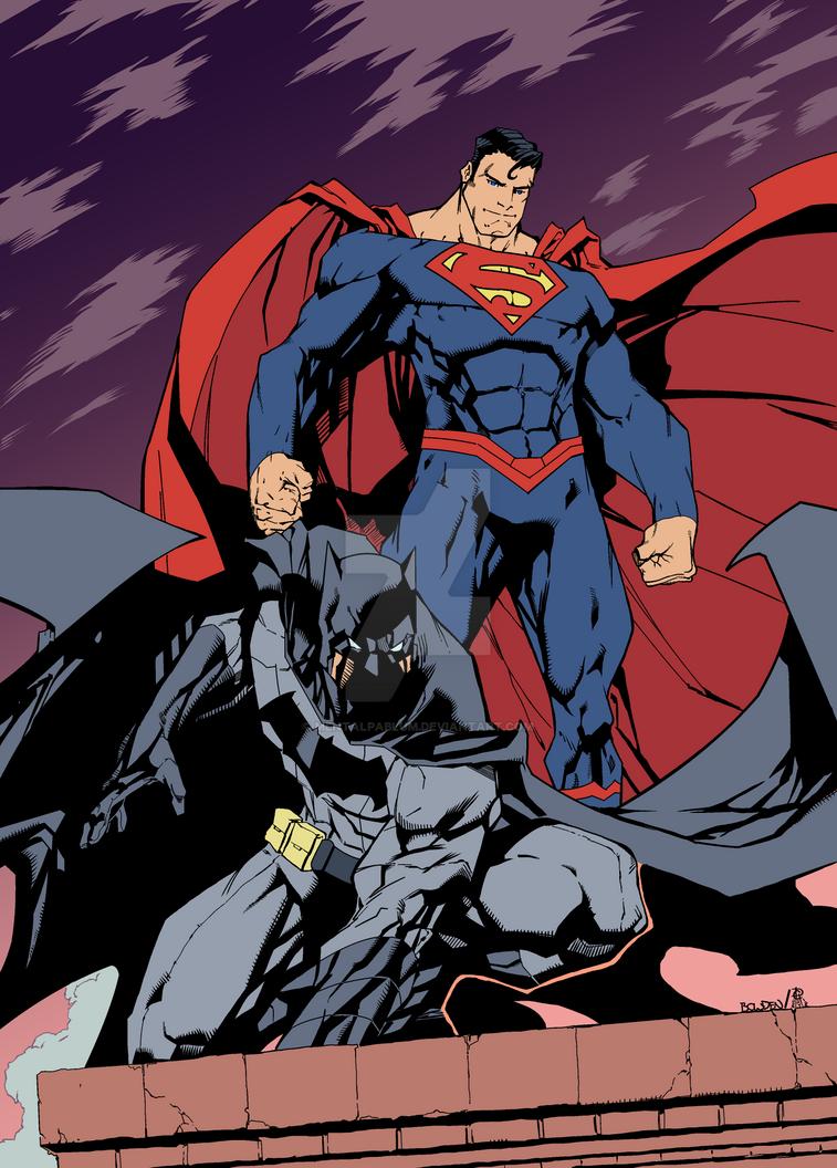 Mike Bowden's Batman and Superman Color Process 1 by MentalPablum