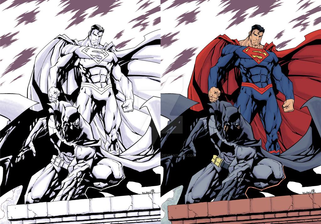 Mike Bowden's Batman and Superman Color Process 2 by MentalPablum