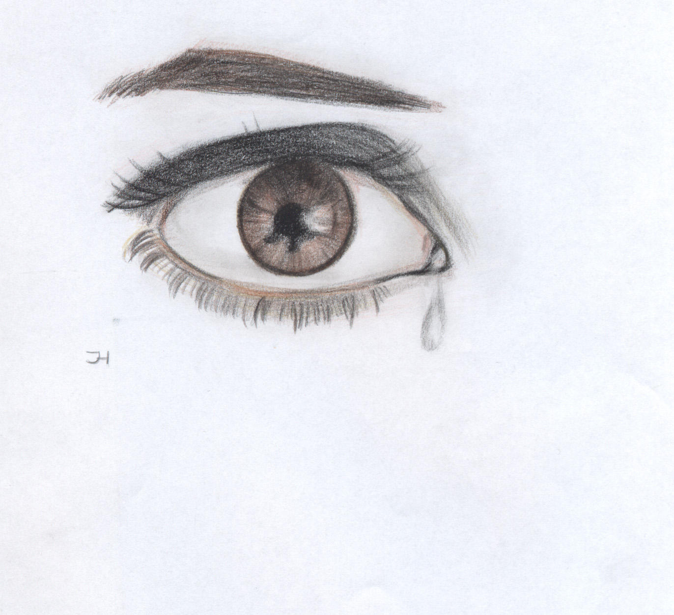 how to draw a crying eye