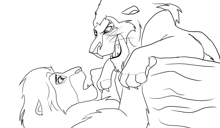 scar coloring page simba vs scar by angelofhapiness2 on deviantart