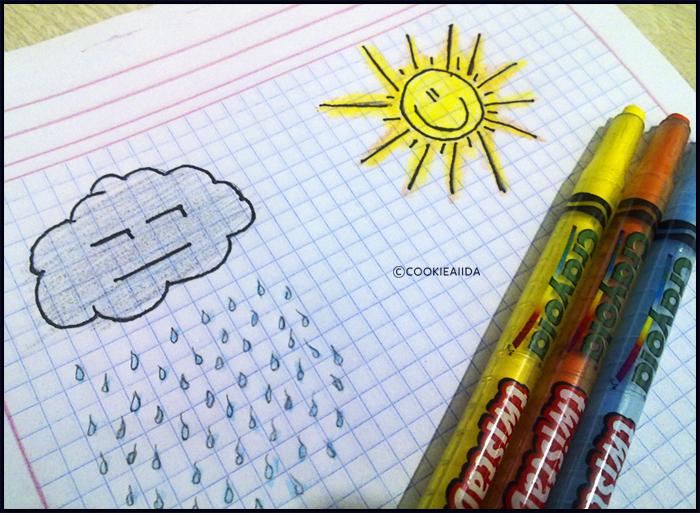 Gray clouds, crayons and sun by CookieAiida
