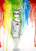 a little girl under the rainbow by Kaninala