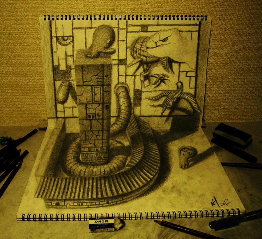 3D Sketchbook Art by Nagai Hideyuki