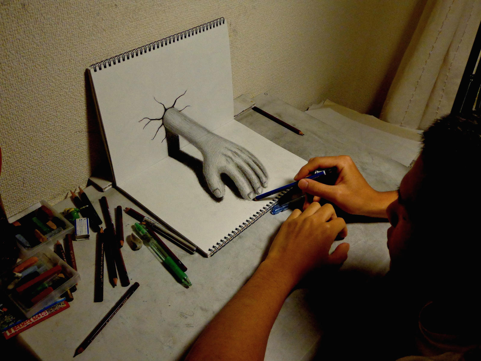 3d drawing hand by nagaihideyuki traditional art drawings surreal 2012