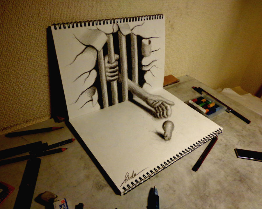 3D Drawing - Beckoning to the evil by NAGAIHIDEYUKI