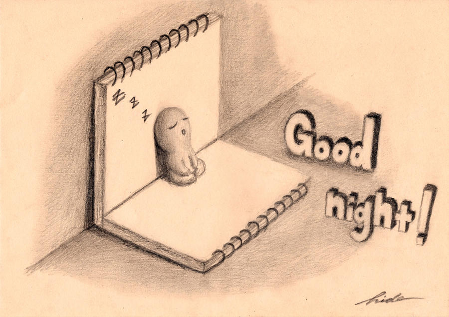 Good night (MINI DRAWING) by NAGAIHIDEYUKI