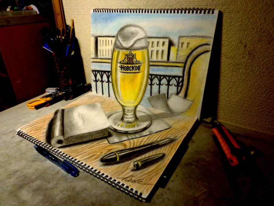 3D Drawing - Beer Cafe by NAGAIHIDEYUKI
