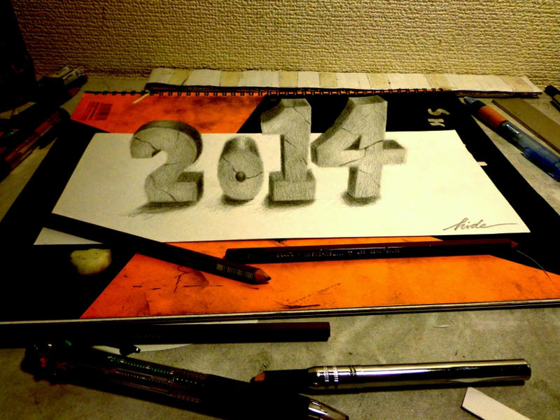 3D Drawing - Happy New Year!! 2014