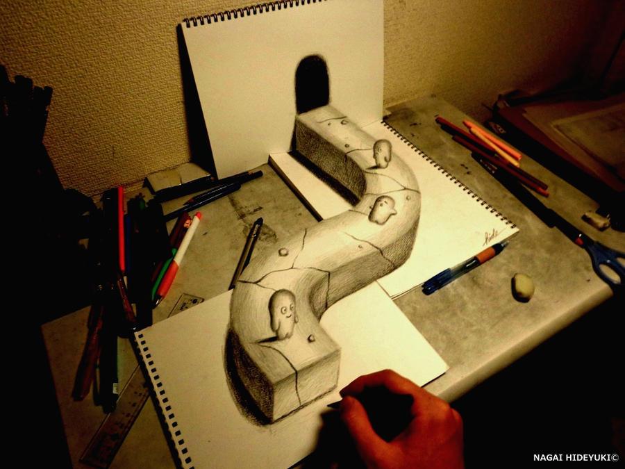 3D Drawing - World of illusion by NAGAIHIDEYUKI